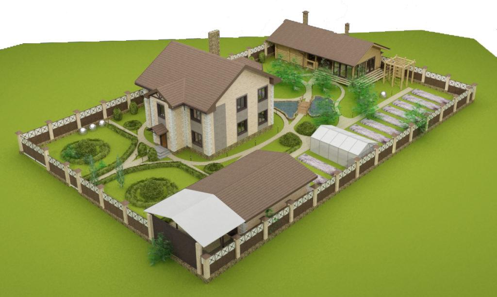 Дизайн участка с баней и гаражом